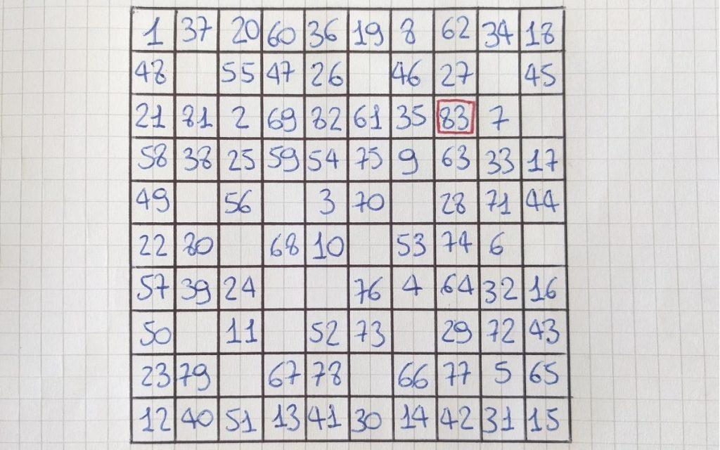 gioco solitario con i numeri